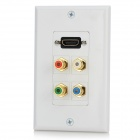 HD4 HDMI + Video Audio Wall Mounted Socket Panel - White + Multicolored