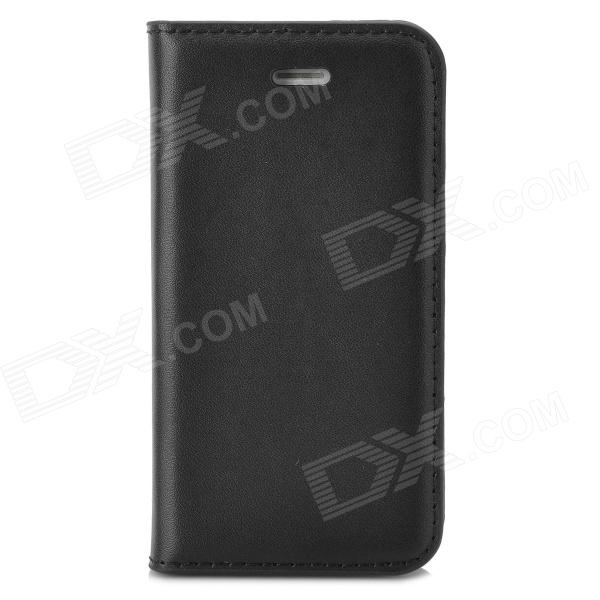 a-336 Stylish Simple Flip-open PU Leather Case w/ Holder + Card Slot for Iphone 4 / 4s - Black stylish flip open pu leather tpu case w holder for iphone 4 4s red