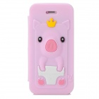 Cute Crown Pig Style Protective Silicone Case for Iphone 5 / 5s - Light Pink