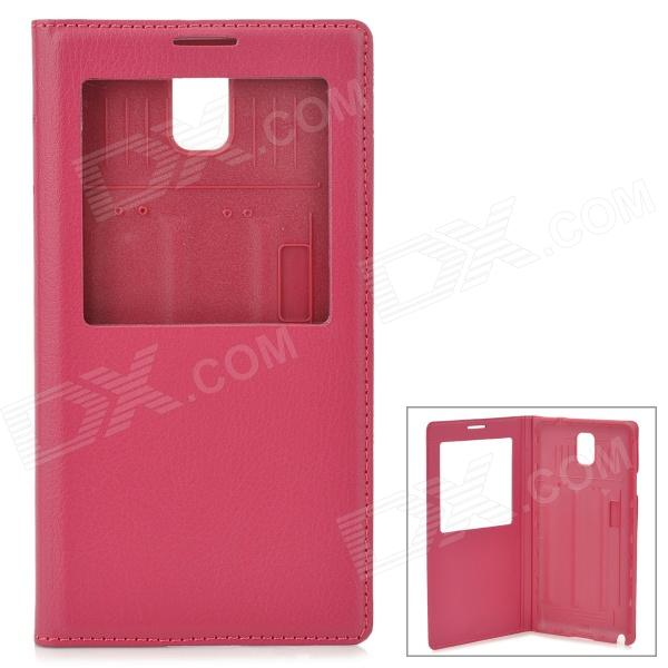 Protective PU Leather Case w/ Battery Back Cover for Samsung N9006/N9002/N9005/N9000 - Deep Pink protective pu leather case w battery back cover for samsung n9006 n9002 n9005 n9000 deep pink