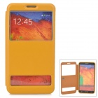 06 Dual Windows Protective Flip Open PU Case for Samsung Note 3 - Yellow
