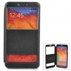 Protective PU Leather Case w/ Display Window for Samsung Galaxy Note 3 - Black