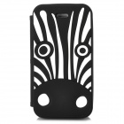 Cute Cartoon Zebra Style Flip-open Silicone Case for Iphone 4 / 4s - Black + White