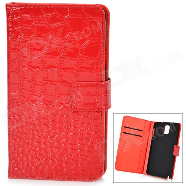 Crocodile Pattern Protective PU Leather Case w/ Card Slot for Samsung Galaxy Note 3 N9000 - Red protective pu leather case w card slot for samsung galaxy note 2 n7100 red