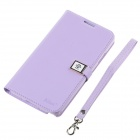 Ailun Protective PU Leather + TPU Case Cover w/ Strap for Samsung Galaxy Note 3 N9000 - Light Purple