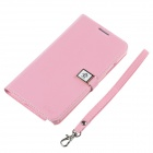 Ailun Protective PU Leather + TPU Case w/ Card Slot / Strap for Samsung Galaxy Note 3 N9000 - Pink