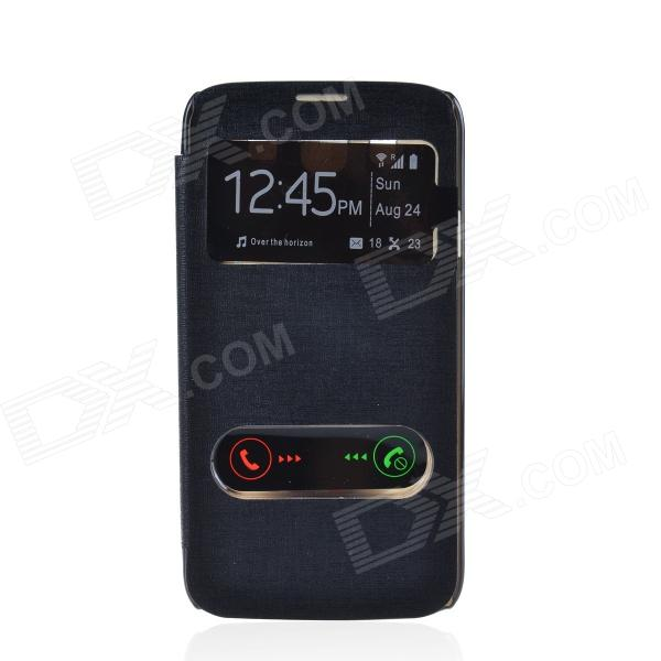 TEMEI PU Leather Case Cover w/ Visual Window / Slide to Unlock for Samsung Galaxy Mega 5.8 - Black - DXLeather Cases<br>Protects your device from scratches dust shock and abrasion; With visual window and slide to unlock function<br>