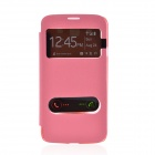 TEMEI PU Leather Case Cover w/ Visual Window / Slide to Unlock for Samsung Galaxy Mega 5.8 - Pink