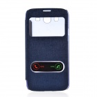 TEMEI PU Leather Case Cover w/ Visual Window / Slide to Unlock for Samsung Galaxy Mega 5.8-Deep Blue