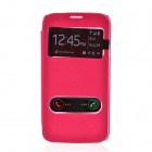 TEMEI PU Leather Case Cover w/ Visual Window / Slide to Unlock for Samsung Galaxy Mega 5.8 - Red
