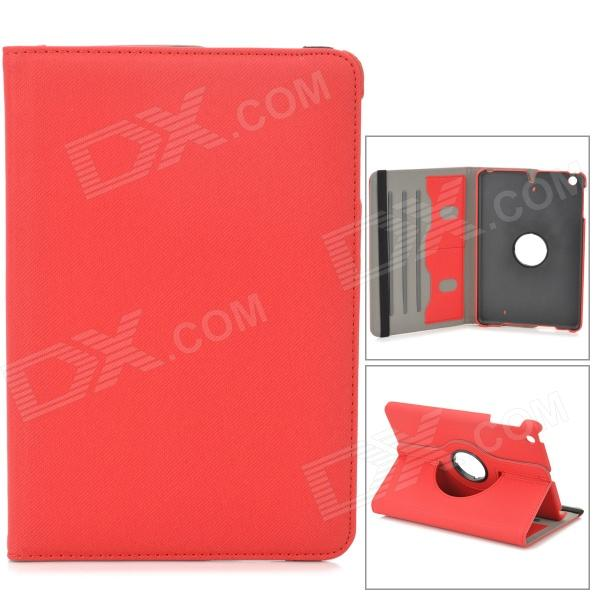 Stylish Protective 360 Degree Rotation PU Leather Case for Retina Ipad MINI - Red levett caesar prostate massager for 360 degree rotation g spot