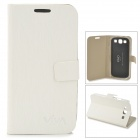 Toothpick Grain Pattern Protective PU Leather + Plastic Flip-Open Case for Samsung i9500 - White