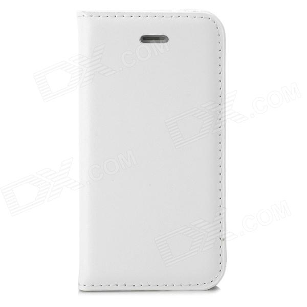 a-336 Stylish Simple Flip-open PU Leather Case w/ Holder + Card Slot for Iphone 4 / 4s - White remax protective flip open pu leather case w visual window for iphone 4 4s white