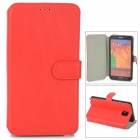 Protective PU Leather Case w/ Card Slot for Samsung Galaxy Note 3 N9000 - Red