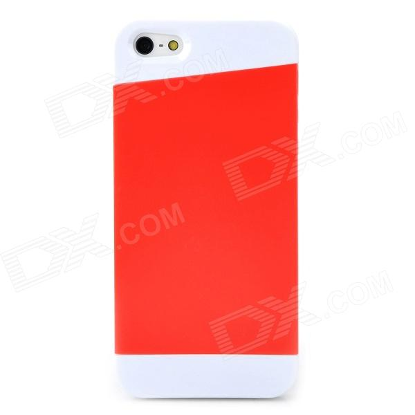 Protective Frosted Silicone + PC Back Case for Iphone 5 / 5s - Red + White elegance tpu pc hybrid back case with kickstand for iphone 7 plus 5 5 inch red