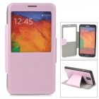Protective Silk Texture PU Leather Case w/ Display Window for Samsung Galaxy Note 3 - Pink Purple