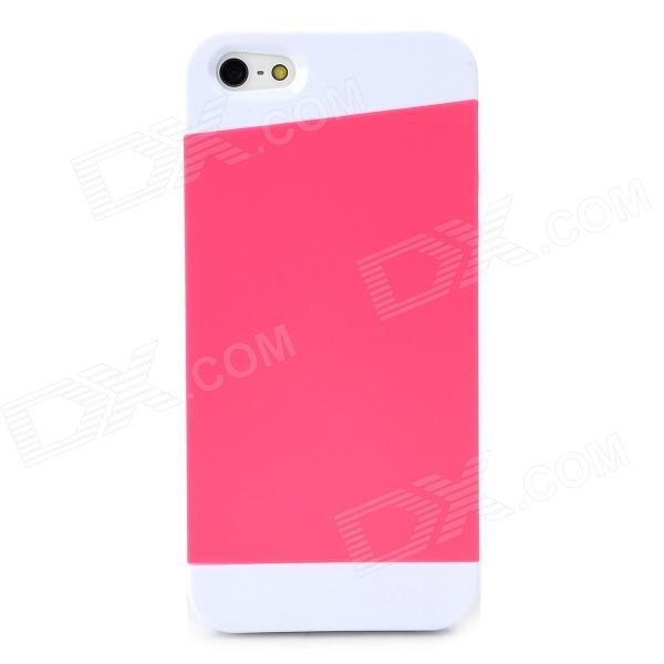 Protective Matte Silicone Case for Iphone 5 / 5s - Deep Pink + White protective matte silicone case for iphone 5 5s dark blue white