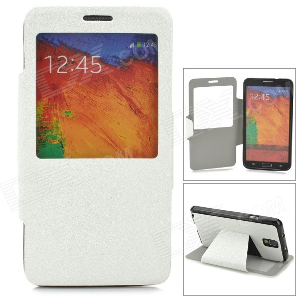 Protective Silk Texture PU Leather Case w/ Display Window for Samsung Galaxy Note 3 N9000 - White miniisw c 3 pu leather flip open case w display window for samsung galaxy s5 off white black