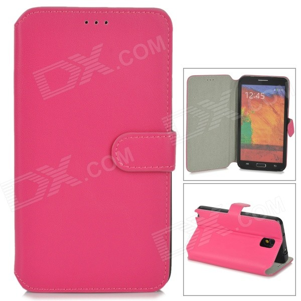 Protective PU Leather Case w/ Card Slot for Samsung Galaxy Note 3 N9000 - Deep Pink protective pu leather flip open case w stand for samsung note 3 n9000 deep pink light green