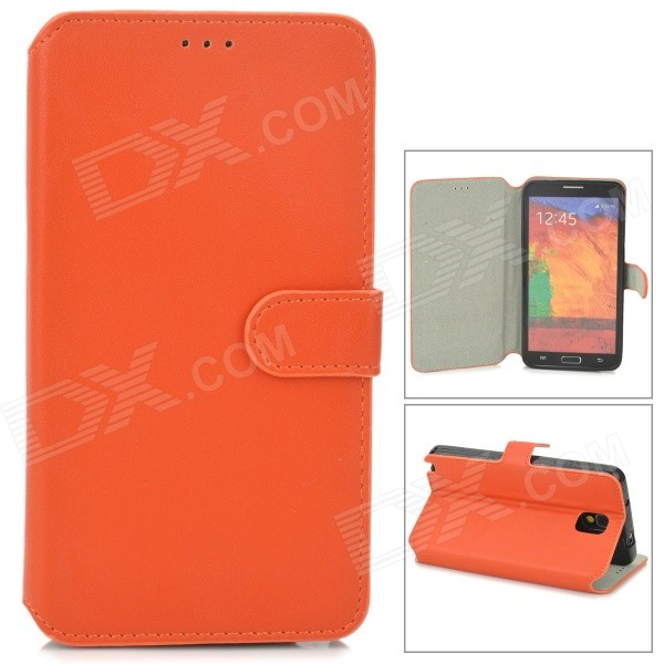 Protective Flip Open PU Case w/ Stand for Samsung Note 3 N9000 - Orange protective pu leather flip open case w stand for samsung note 3 n9000 deep pink light green
