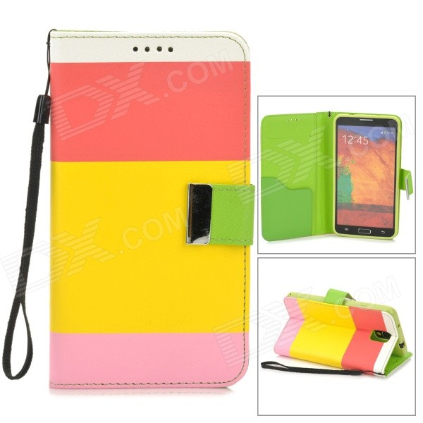 Protective Flip Open PU Case w/ Stand / Strap for Samsung Note 3 N9000 - Pink + Red + Multicolored protective pu leather flip open case w stand for samsung note 3 n9000 deep pink light green
