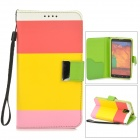 Protective Flip Open PU Case w/ Stand / Strap for Samsung Note 3 N9000 - Pink + Red + Multicolored