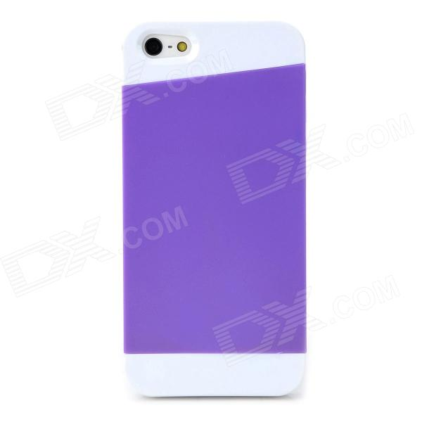 Matte Protective Silicone + PC Back Case for Iphone 5 / 5s - Purple + White stylish bubble pattern protective silicone abs back case front frame case for iphone 4 4s