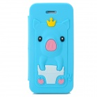 Cute Crown Pig Style Flip-open Silicone Case for Iphone 5 / 5s - Sky Blue