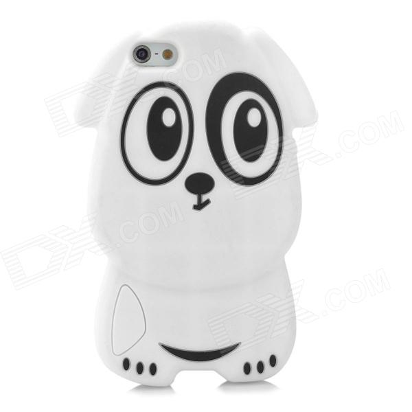 gel0191 Protective Cute Dog Style Silicone Back Case for Iphone 5 - White + Black cute rabbit style protective silicone back case for iphone 5 5s white