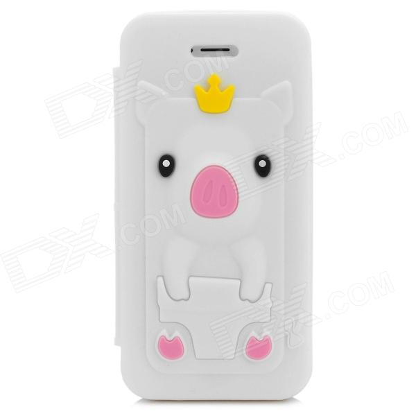 Cute Crown Pig Style Flip-open Silicone Case for Iphone 5 / 5s - White protective 3d crown pig style silicone case for iphone 4 4s deep pink