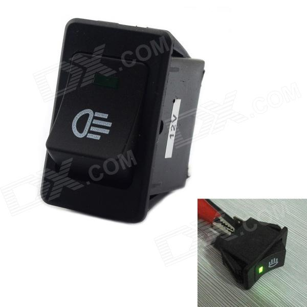 Jtron Car Switch / Fog Green Light Switch - Black + Green (35A / 12V)