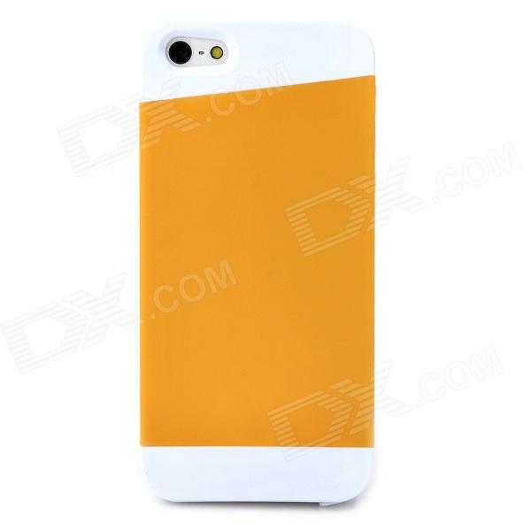 Protective Matte Silicone Case for Iphone 5 / 5s - White + Yellow protective matte silicone case for iphone 5 5s dark blue white