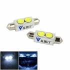 Walang Ting Festoon 42mm 3W 270lm 2-LED White Car Dome Light - (DC 12V / 2 PCS)