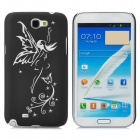 309 Glow-in-the-dark Angle Pattern Plastic Back Case for Samsung Note 2 - Black + White