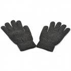 360 Degree Capacitive Screen Touch Woolen Yarn Warmer Gloves - Black (Pair)