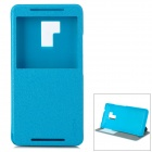 ROCK Classic Flip-open PU Leather Case w/ CID Window + Holder for HTC One MAX / T6 - Blue
