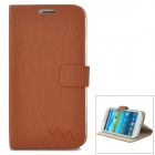 Stylish Flip-open PU Leather Case w/ Holder for Samsung S3 i9300 - Brown