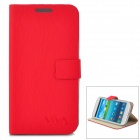 Stylish Flip-open PU Leather Case w/ Holder for Samsung S3 i9300 - Red