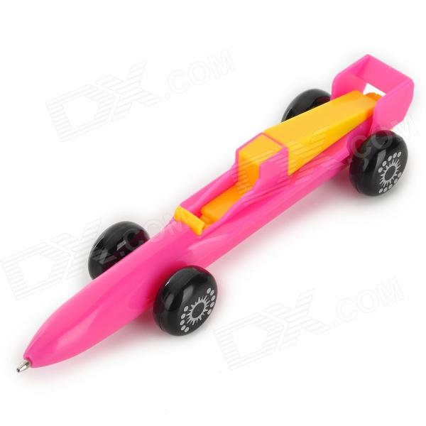 Rocket Car Shaped Blue Gel Ink Ballpoint Pen - Deep Pink + Yellow
