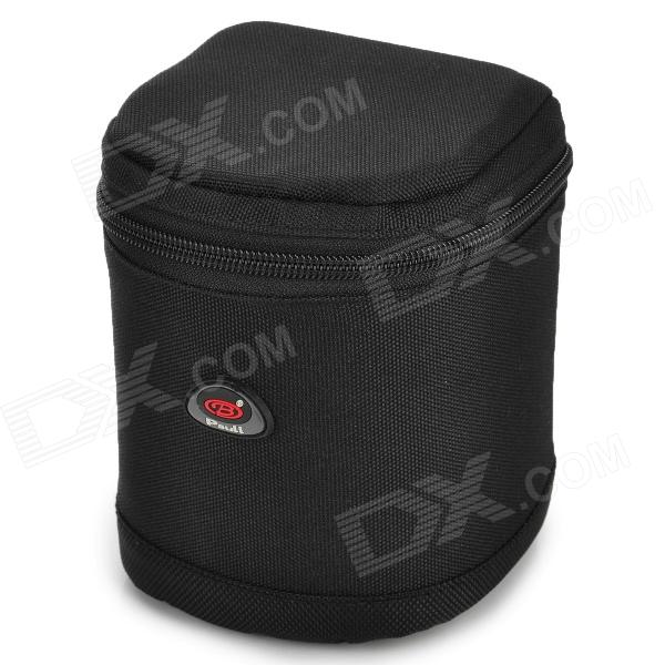 PAULL BL-0003 Water Resistant Nylon + Polyester Camera Lens Bag - Black (Size S) nylon lens filter pocket bag size s holds 3 pieces