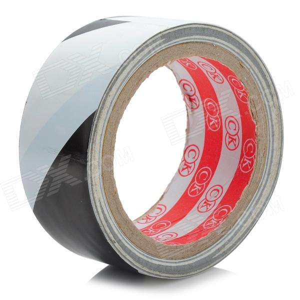 PVC Zebra Pattern Warning Adhesive Tape - White + Black self adhesive hazard warning pvc tape black yellow 4 5cm x 18m