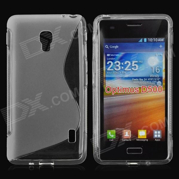 S Pattern Anti-slip TPU Back Case for LG Optimus D500 - Transparent