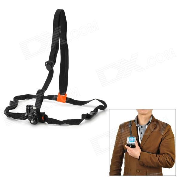 Adjustable Chest Belt + GoPro Adapter for Camera, GoPro 1 / 2 / 3 / 3+ - Black + Orange