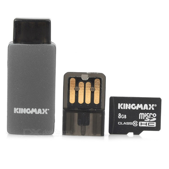 KINGMAX Class10 8GB TF / Micro SDHC Card + TF Card Reader Set - Black + Blue