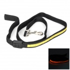 3-Mode Yellow Light LED Flashing Polyester Dog Leash - Black + Yellow
