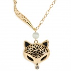 Woman's Fashionable Hollowed Fox Head Pendant Zinc Alloy + Crystal Necklace - Golden + Black