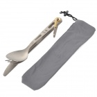 Keith KT310 Outdoor Titanium fork Spoon Knife Tableware Set - Silver