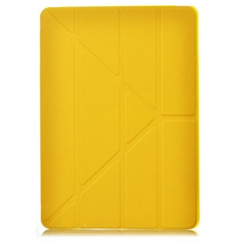 Protective PC Back Case + 3-Fold PU Leather Cover Stand w/ Auto Sleep for Ipad AIR - Yellow