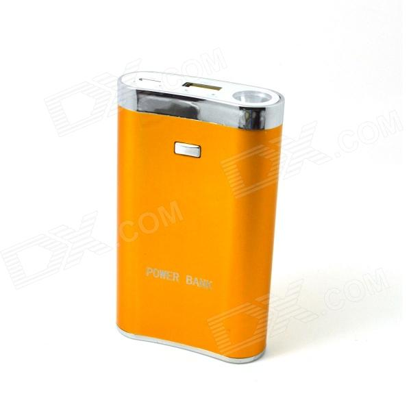 Portable Hip-flask 7200mAh External Battery Charger Power Bank w/ LED Flashlight - Golden portable mini cylinder 1300mah usb power bank external battery pack rose red