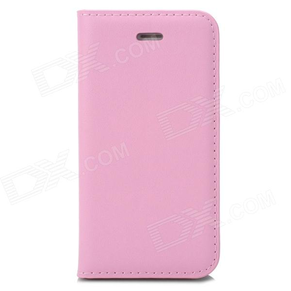 a-336 Stylish Simple Flip-open PU Leather Case w/ Holder + Card Slot for Iphone 4 / 4s - Pink stylish flip open pu leather tpu case w holder for iphone 4 4s red